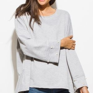 Gray pearl studded long boho party oversized top